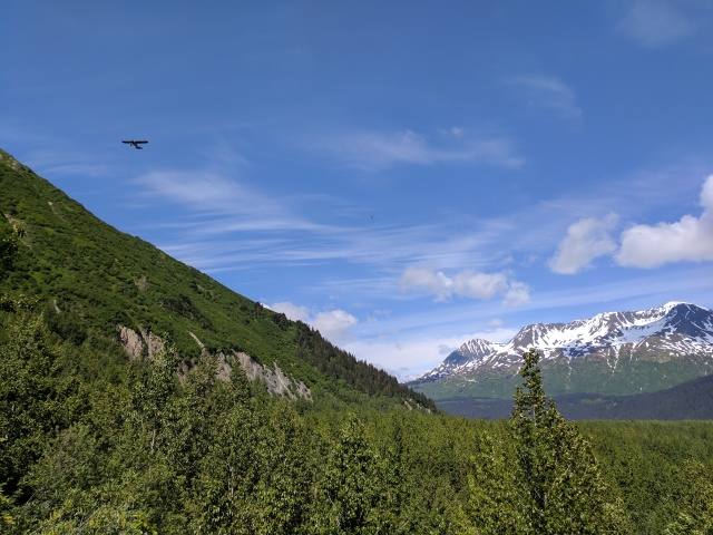 prop plane flyover Exit Glacier Seward Alaska