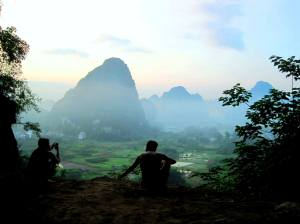 hazy sunrise after a night of cave camping in Yangshuo