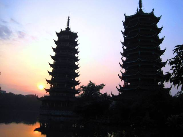 The Sun and Moon Pagodas at sunrise, Guilin