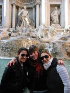 With my host sisters Steffi and Clo in front of the Trevi fountain ITALY