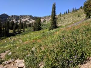 hiking down to Blue Lake Cascade Idaho