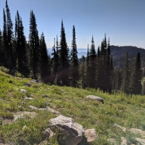 hiking down to Blue Lake Cascade Idaho