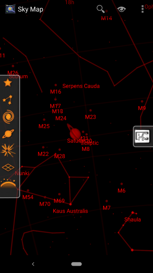 Sky map night mode